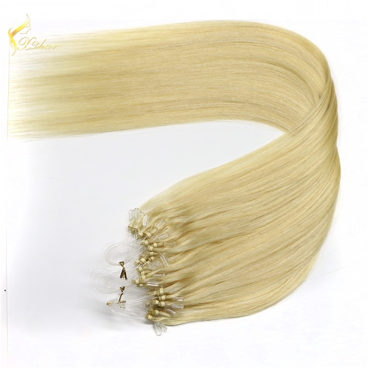 20inches natural straight light brown micro ring human hair extensions virgin remy indian hair for micro braids