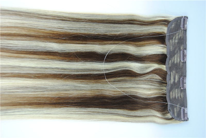 8 30inch Straight Fish Line Human Flip In Halo Hair Extensions
