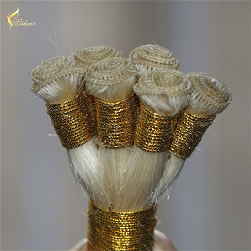 8A Malaysian Human Hair Hand Tied Weaving  Straight Remy Hair Extensions Human Hair Black/White Double weft