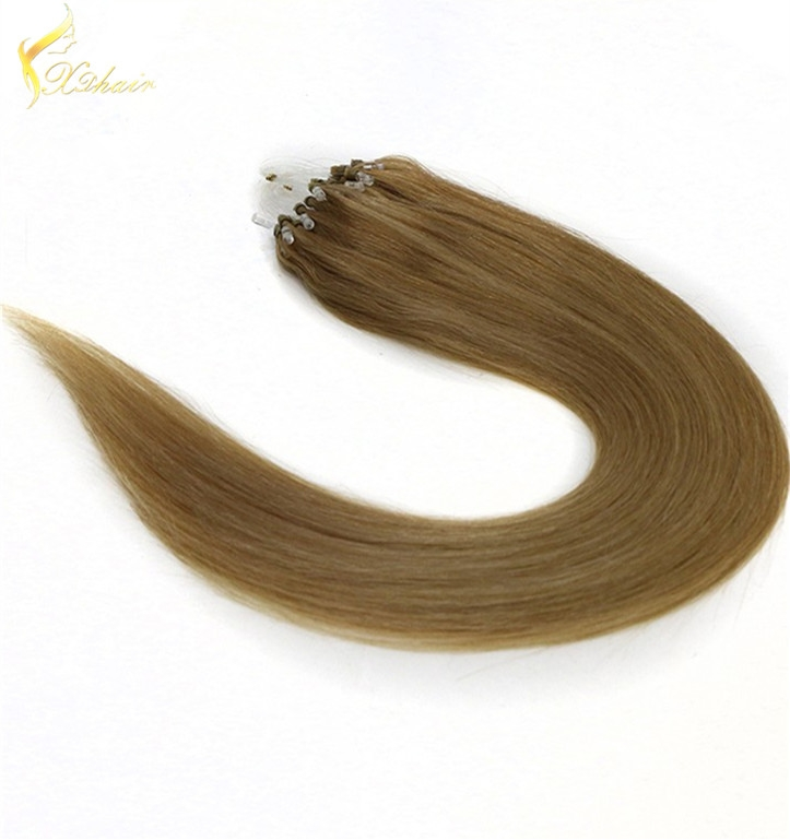 Best quality no chemical top quality wavy style micro ring 2 loops remy hair
