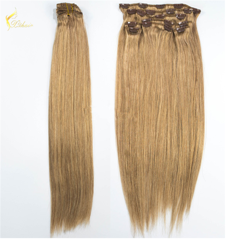 Cheap price wholesale 22inch 100 real Mogolian Clip in human hair extensions