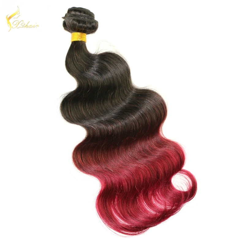 China hair factory supply ombre #1b/#99j two tone color body wavy brazilian hair weaves for women