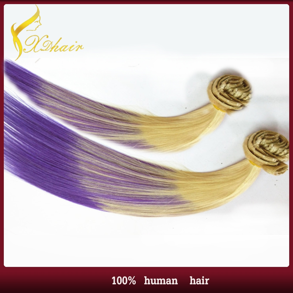 Dip Dye Clip In Hairpiece Two Tone Color Top Quality Remy Human Hair