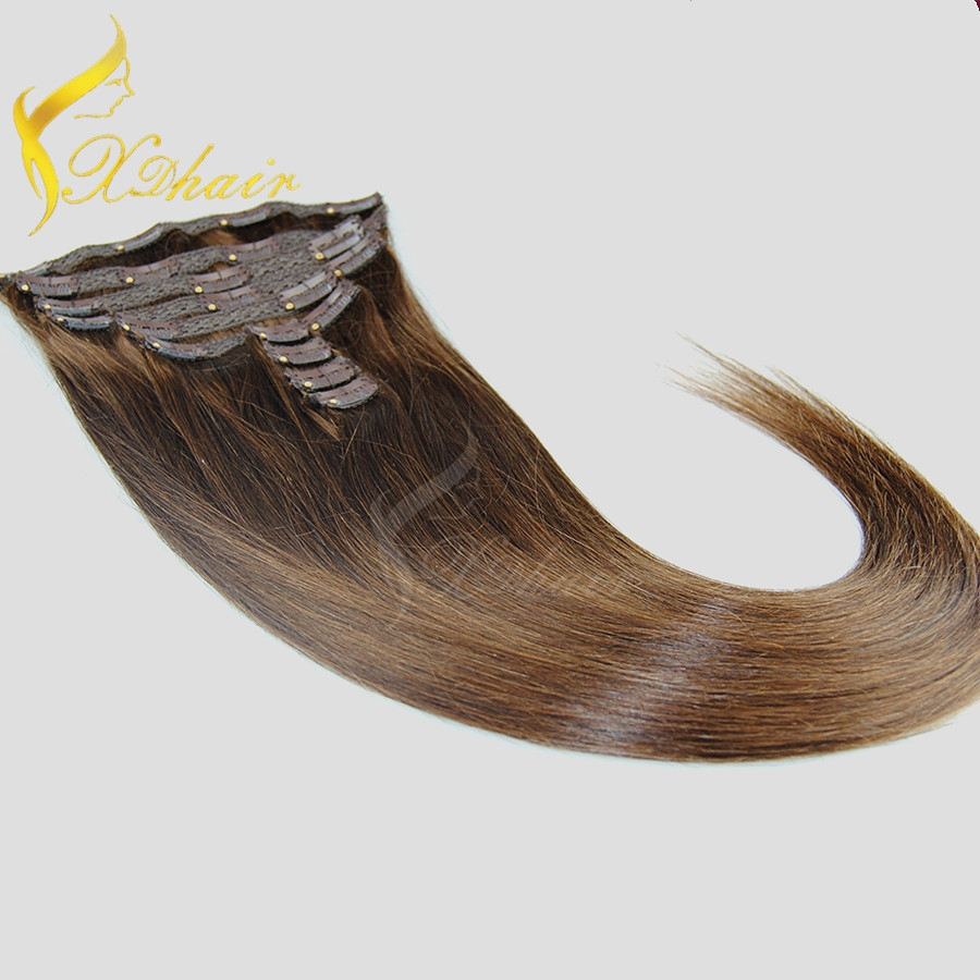 Factory Direct 120g,160g,220g,260g Double Drawn Thick Ends Triple Weft With Lace Attached Clip in Hair Extension