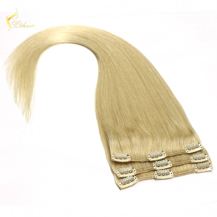 Factory Wholesale 120g 160g 200g 220g 100% human hair virgin remy clip in hair extensions