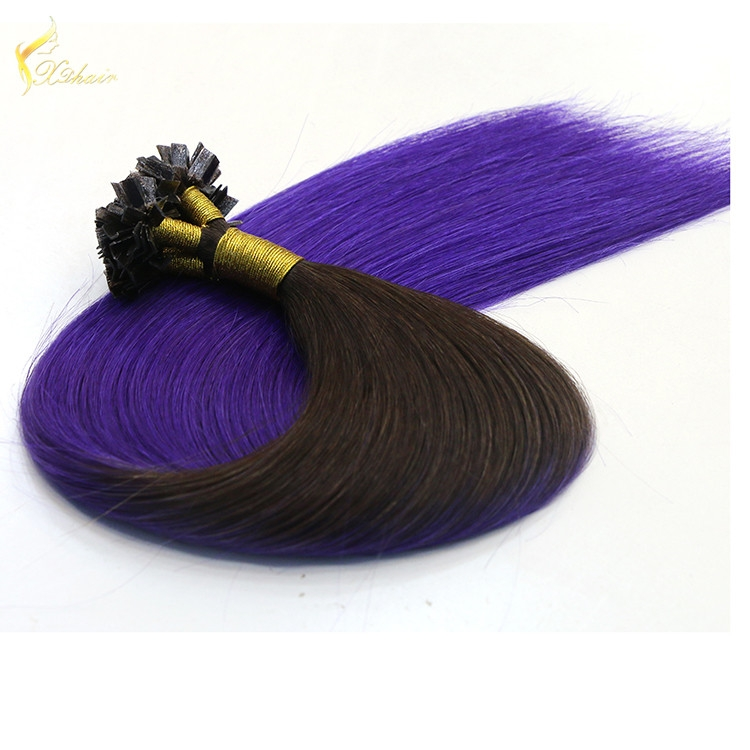 Golden Supplier Italy Keratin Glue ombre T 1b# #Blue color 100% Human Hair virgin flat tip pre bonded fusion curly extensions