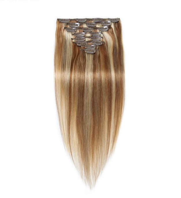 High Quality 8a Grade Full Head 100 Human Hair Piano Color Clip In Hair Extensions