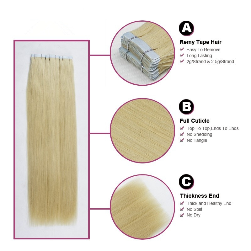 Indian virgin hair silky straight double drawn human hair extensions color 60# blonde double drawn invisible tape hair extension