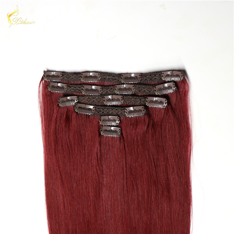 Popular hair styling virgin brazilian hair double weft 99j, clip in human hair extensions for black women