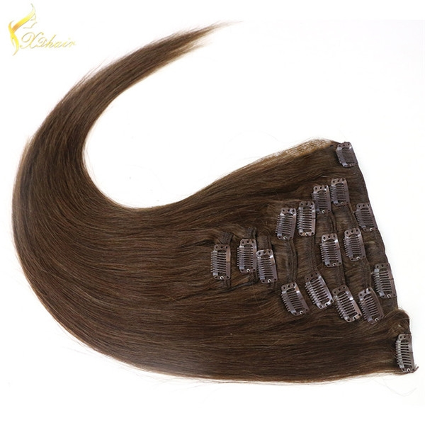 Top Quality Double Drawn Thick Clip In hair extension, OEM Wholesale Remy Human Hair Extension Clip In