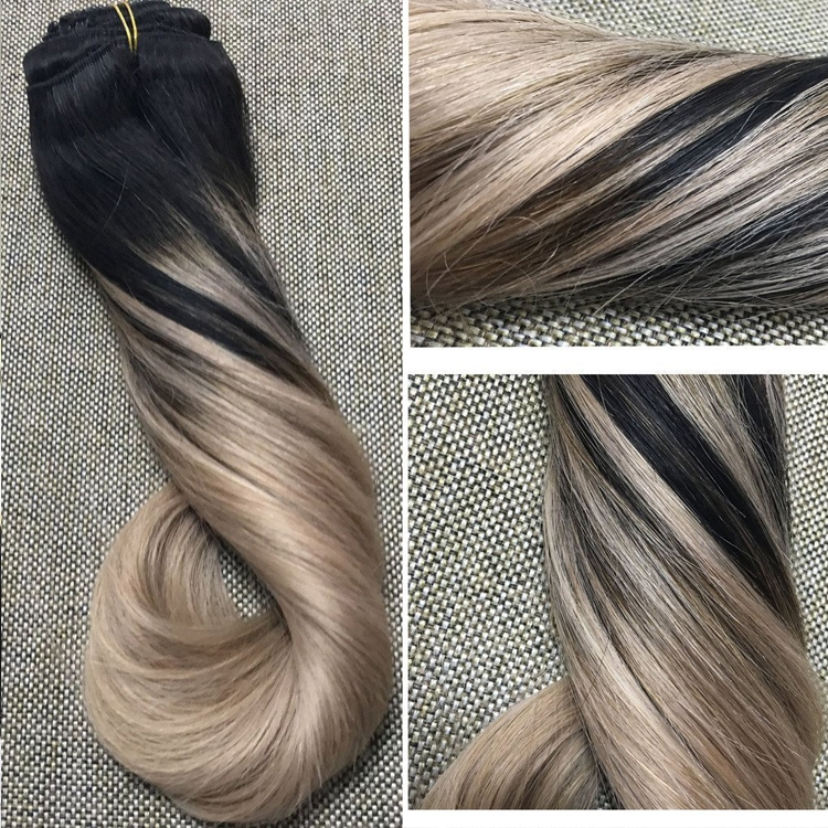 Top quality 7a grade Hot Sale Wholesale 100% Natural Human seamless clip in Hair Extensions
