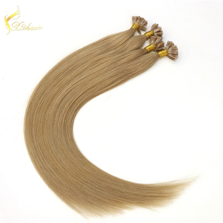 Virgin Unprocess High quality Silky Straight remy virgin european u tip hair extensions with diamond remy hair for white women