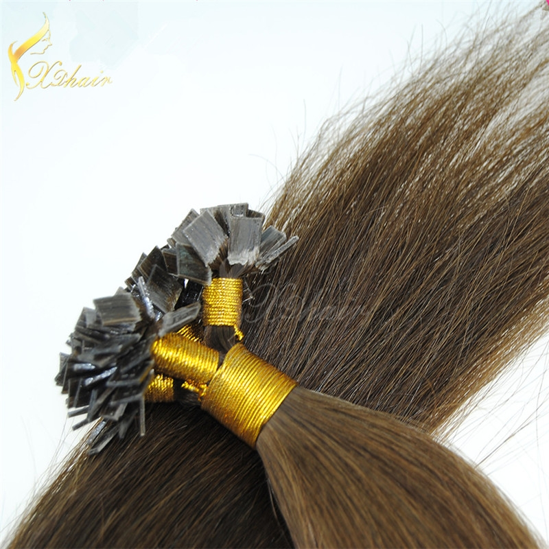 Virgin human hair flat-tip human hair Top quality virgin human hair pre-bonded hair extension