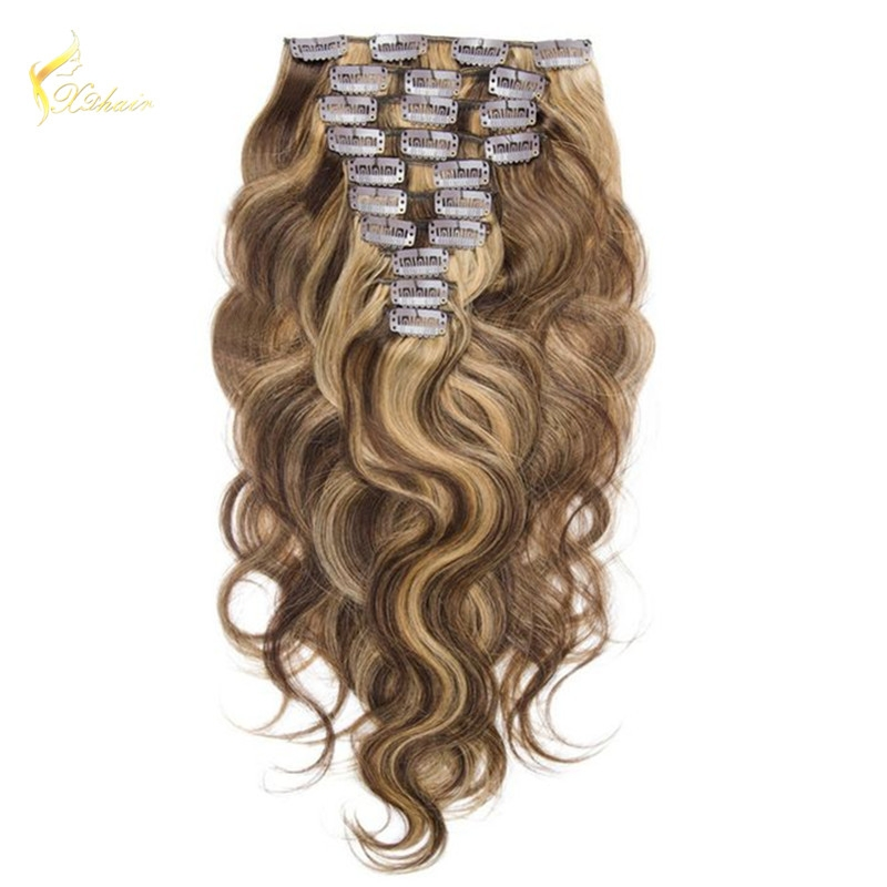 Wholesale Price Body Wave Piano Color Supreme Remy Brazilian Human Hair Clip In Hair Extensions For Black Women