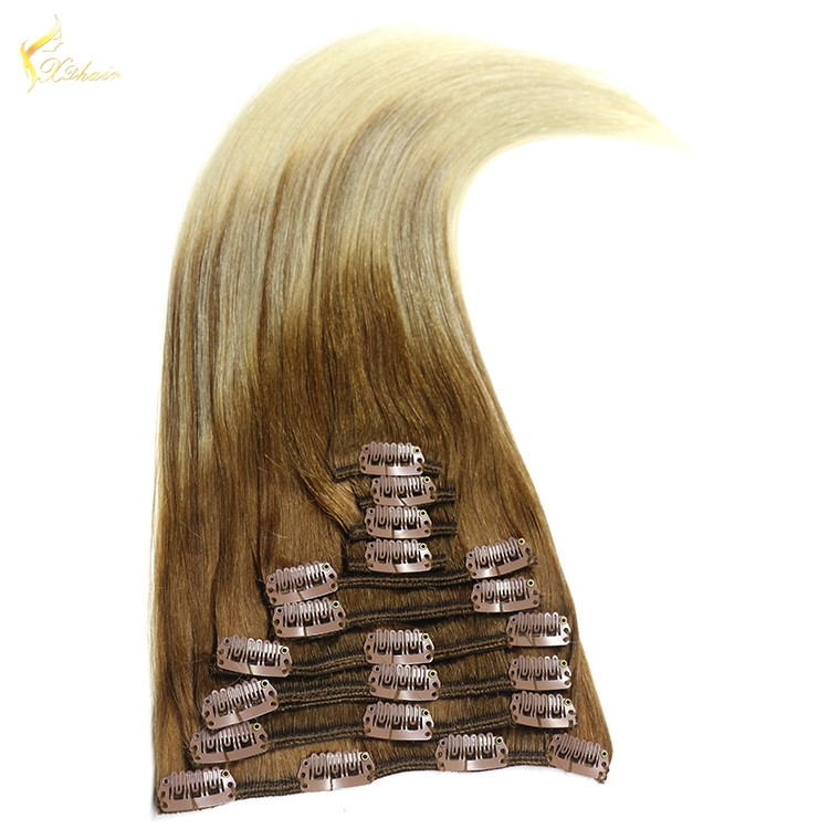 Wholesale Price Virgin Indian Hair Straight Human Hair Extension Double Drawn Remy Clip In Hair Extensions