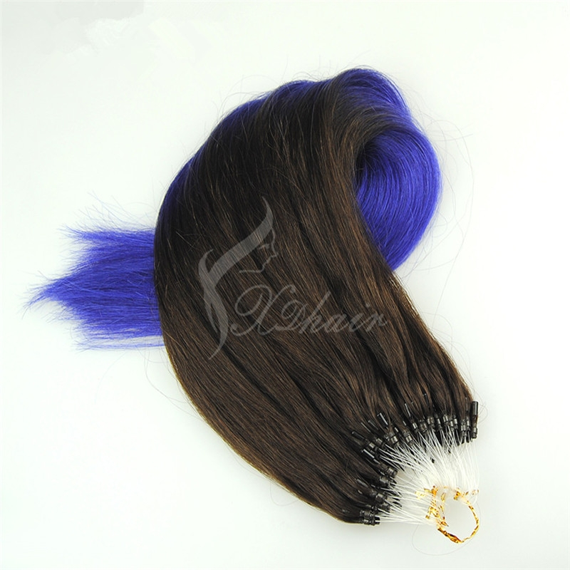 Wholesale Remy Hair Cuticles Ombre 2T #1B/#Blue Color Micro Loop Hair Extension 1.5g