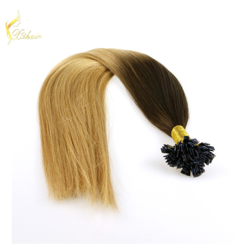Wholesale brazilian human fusion extension ombre color hair extensions ombre nail tip fusion hair