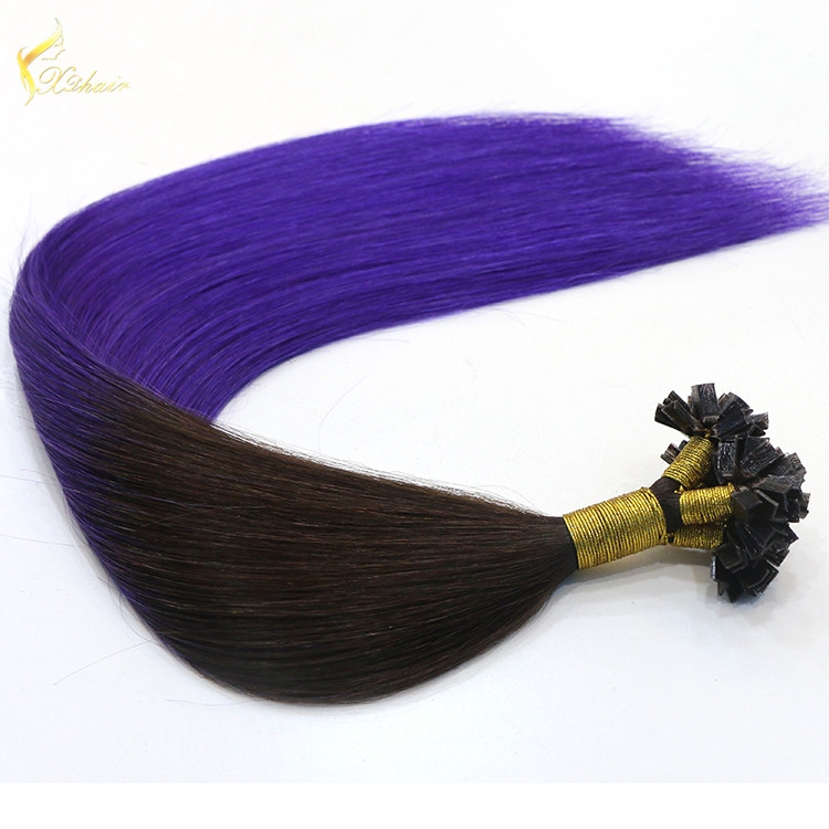Wholesale in China Keratin Tip U Shape Hair 18inch Ombre#1b/Purple 1g strand Ke