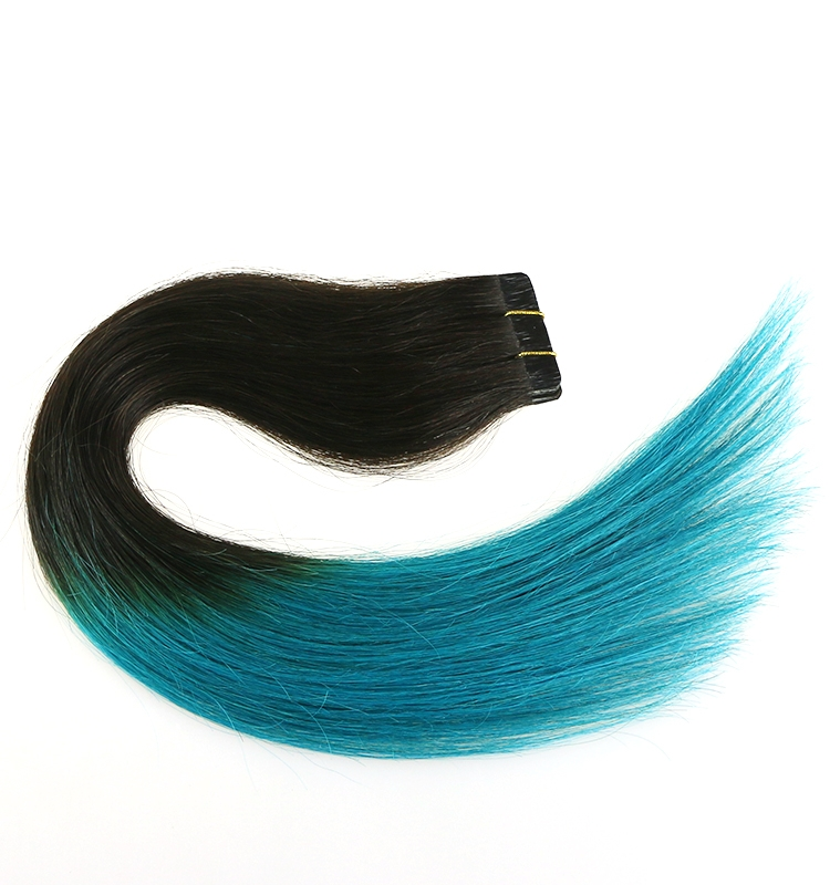 aliexpress indian temple hair ombre color skin weft 100% virgin brazilian indian remy human hair PU tape hair extension