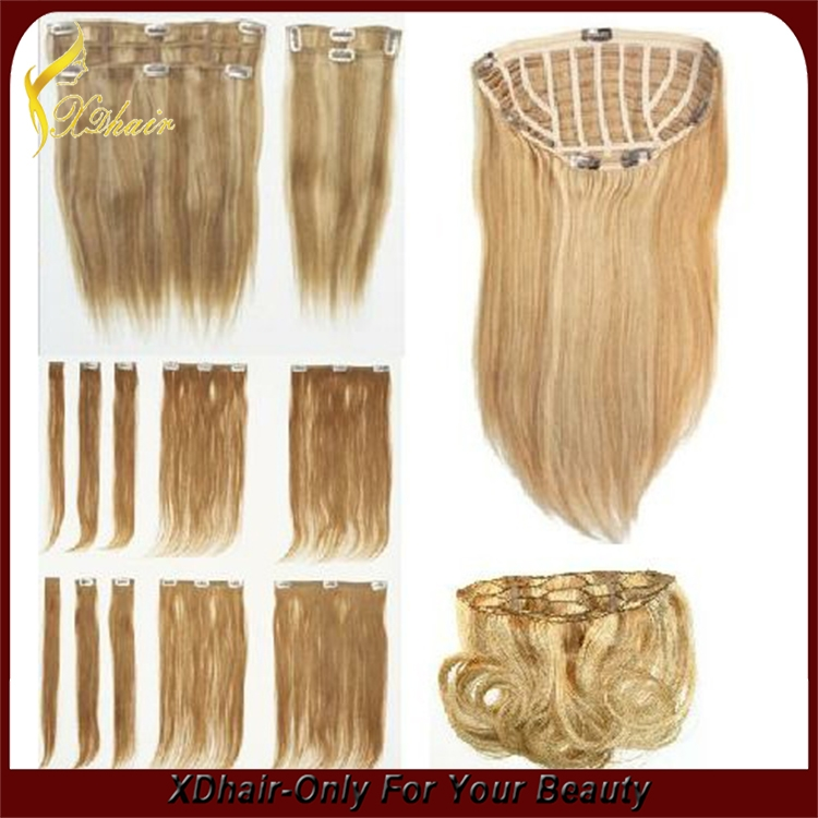 Curly Blonde Remy Hair Extensions One Piece Clip In Human Hair