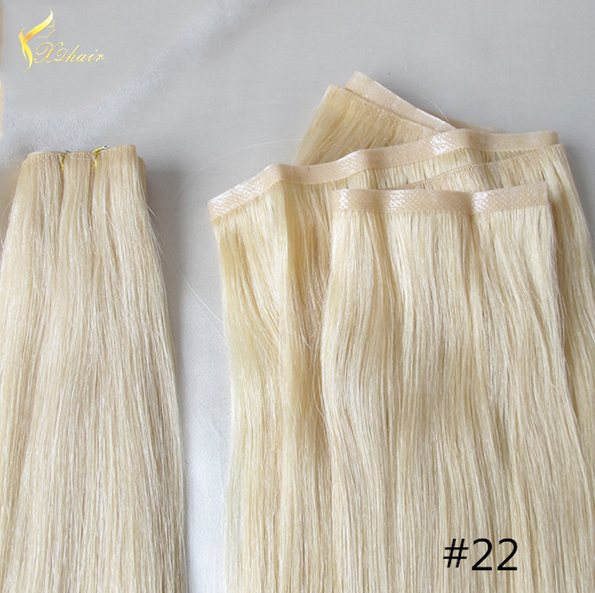 high quality light blonde pu hand knotted skin weft ,virgin brazilian hair skin weft extensions
