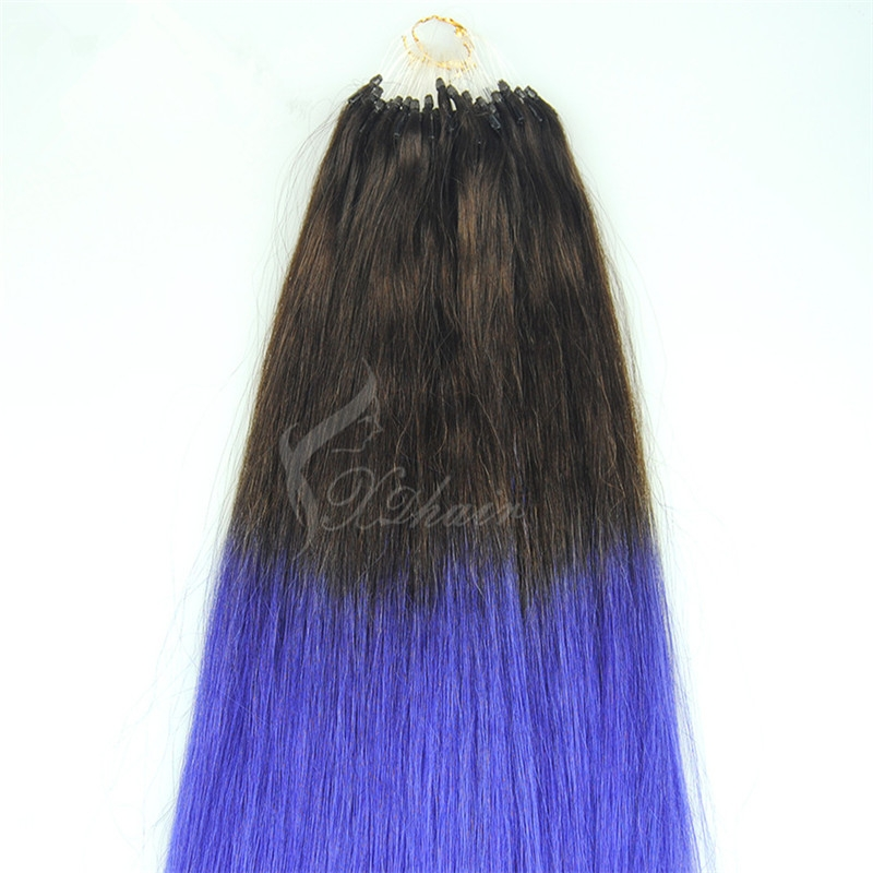 hot sale double drawn cheap remy indian hair ombre micro loop ring hair extension