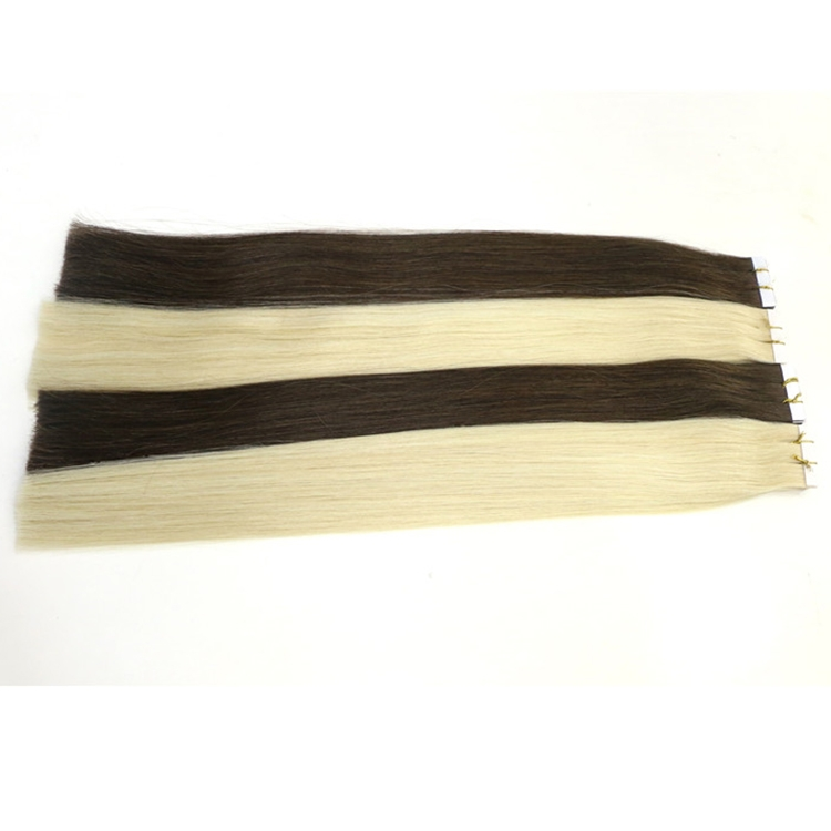 ombre color black blue virgin brazilian indian remy human PU tape hair extension