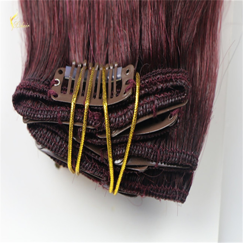 single drawn #99j natural straight clip in hair extensions for black women free sample