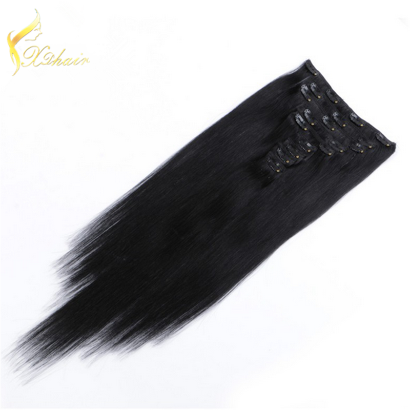 top quality 150g remy clip in hair extension/100% human hair extension