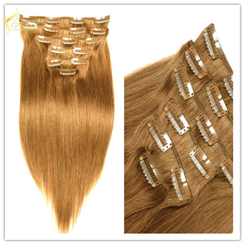 unprocessed clip in hair extension for white woman Piano color human hair weave chinese human hair extension