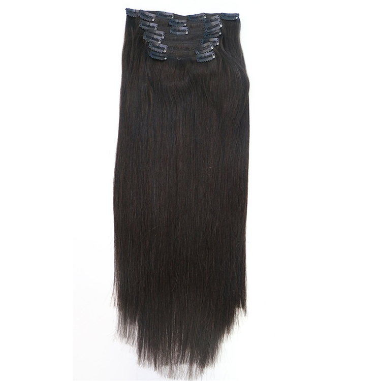 wholesale price 20 inches silky straight double drawn remy clip in hair extensions dropshipping